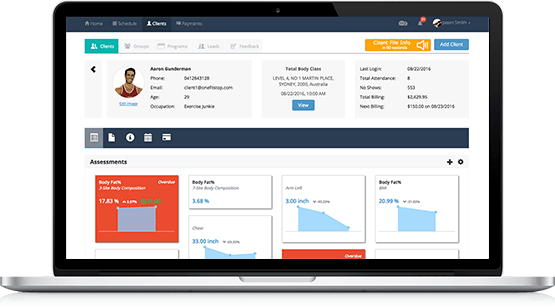 Personal training client management dashboard