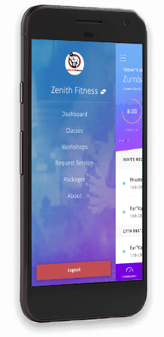 online booking fitness app on mobile device