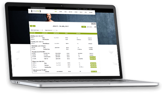 client dashboard for fitness class online booking