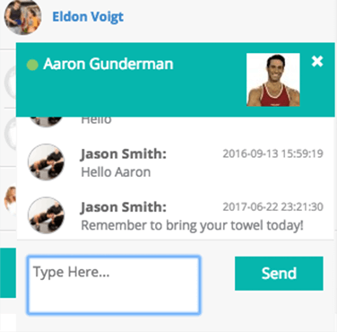 personal training software client messaging example